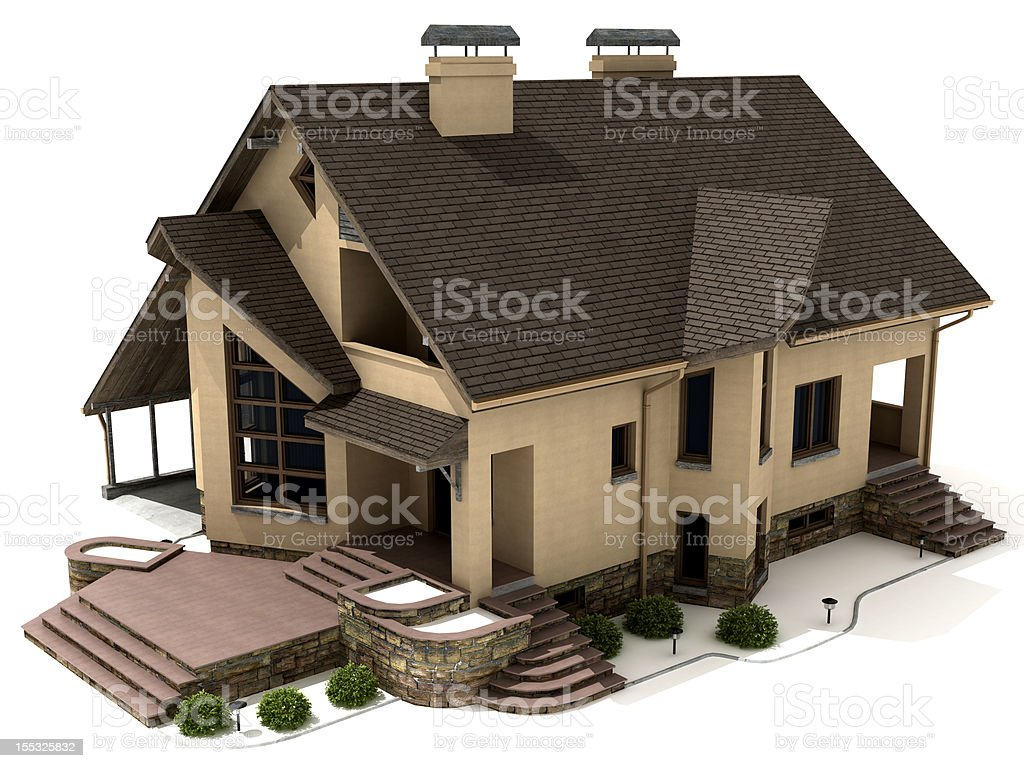 Generic Building on white stock photo
