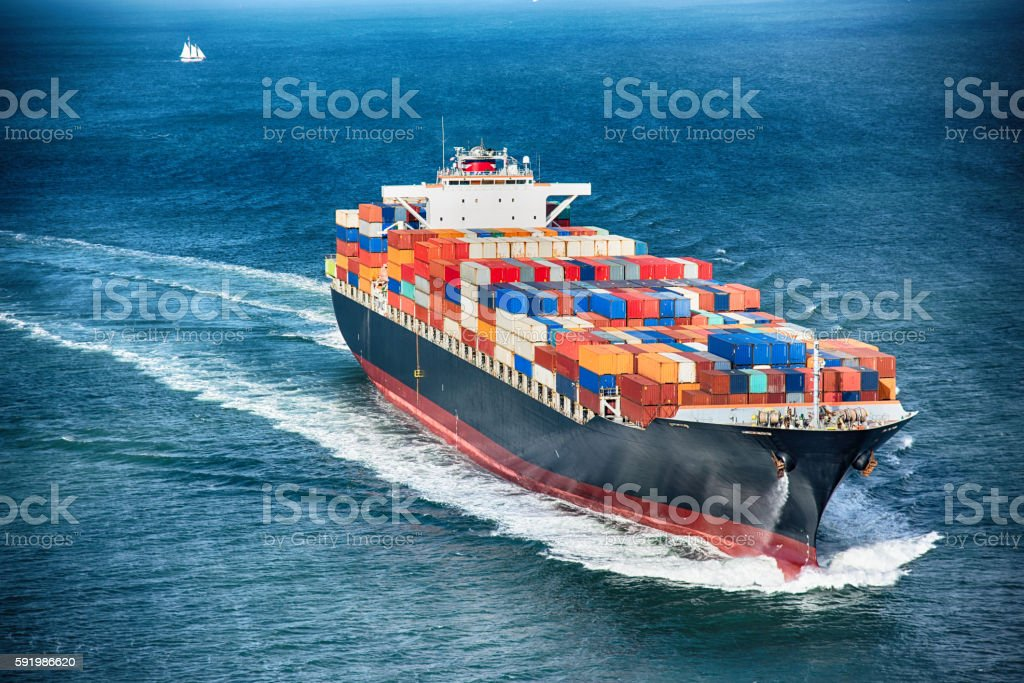 Generic Cargo Container Ship at Sea stock photo