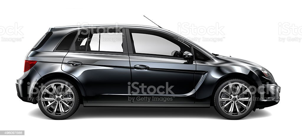 Generic compact black car stock photo