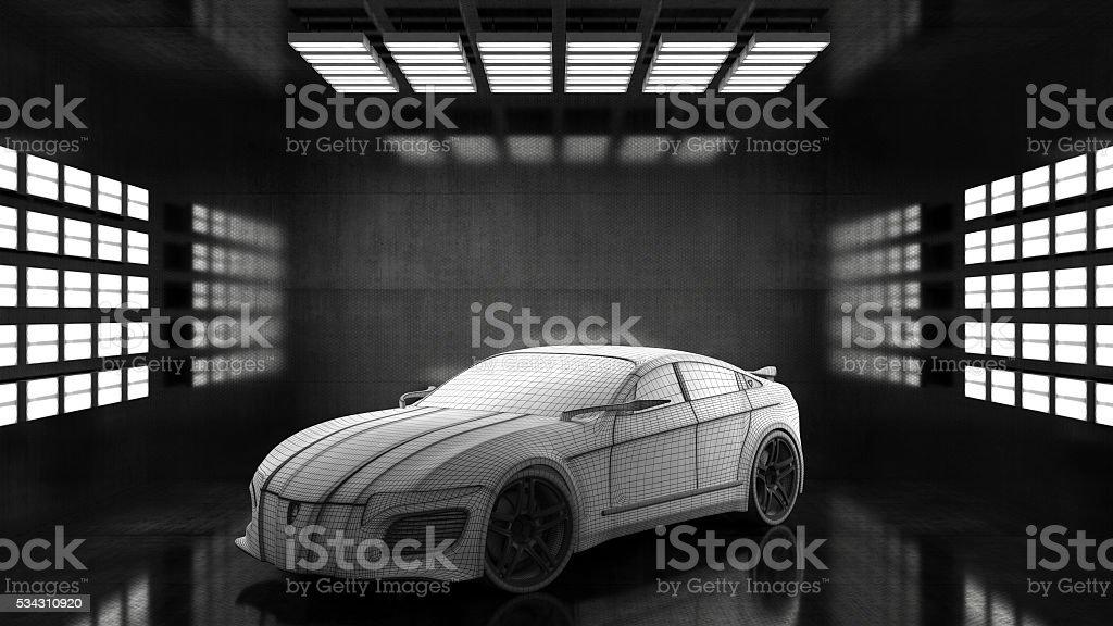 Generic conceptual sports car in studio stock photo