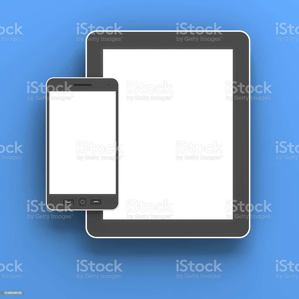 Generic digital tablet and smartphone against blue background, 3d render royalty-free stock photo