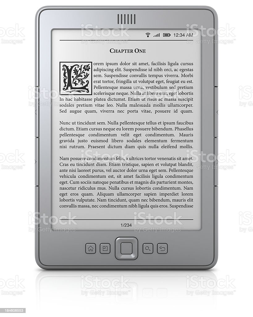 Generic e-book reader with text stock photo