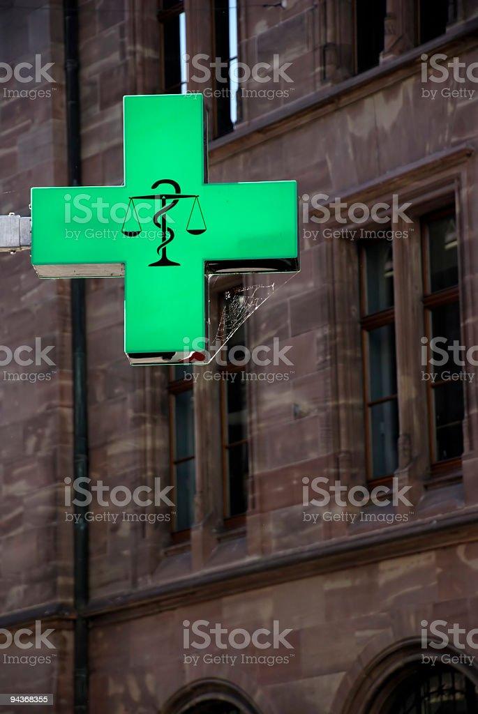 Generic Emblem of Pharmacy in Switzerland stock photo