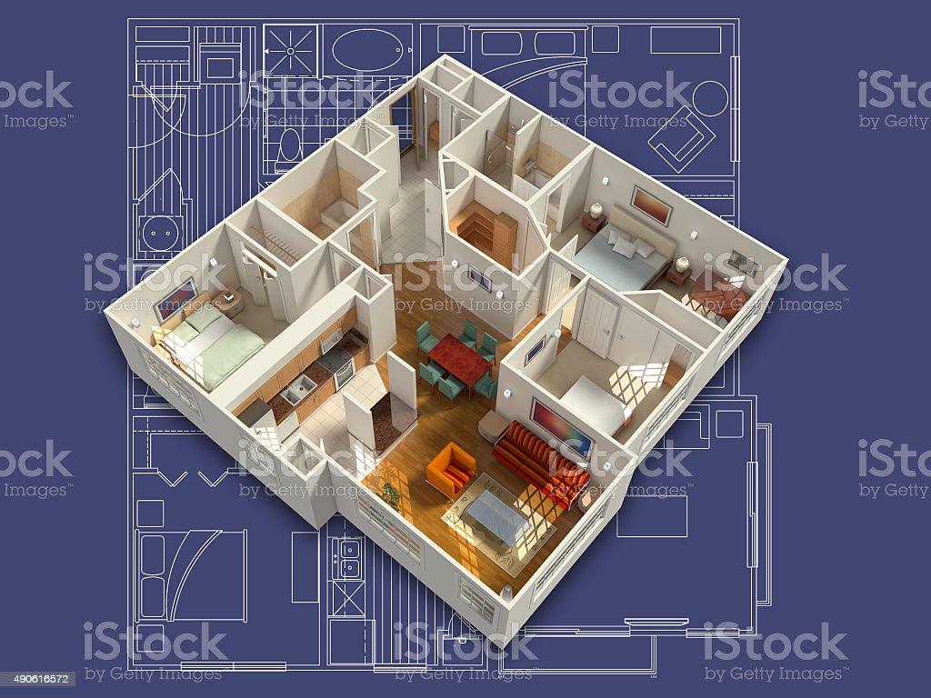 3D Generic House Interior stock photo