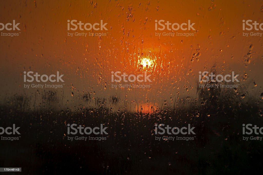 Generic Indian sunrise through steamy window royalty-free stock photo