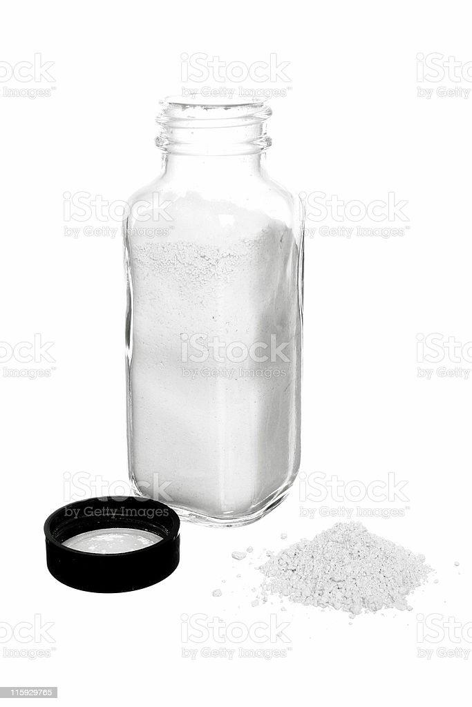 generic jar of white powder 2 stock photo