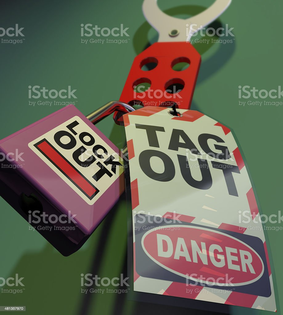 Generic Lockout Tagout. stock photo