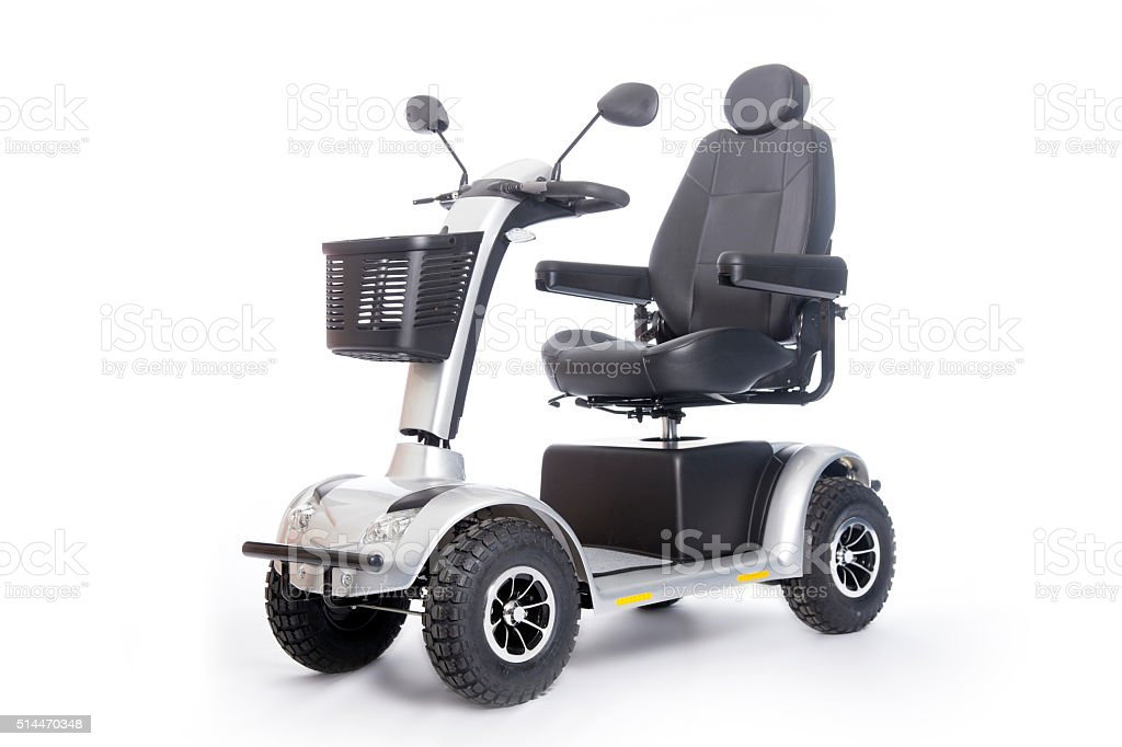 generic mobility scooter for disabled or elderly people against stock photo