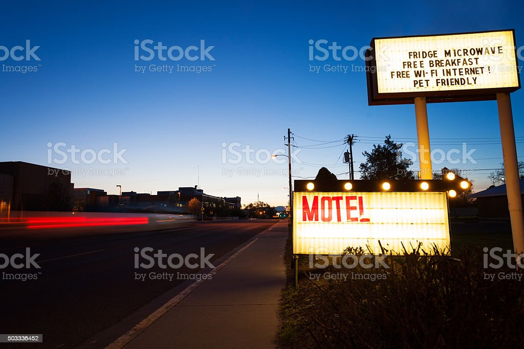 Generic Motel sign in the dusk on road stock photo