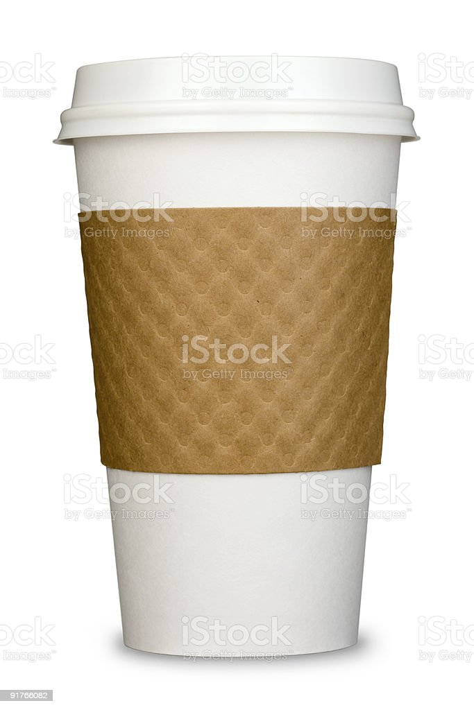 Generic Paper Insulated Coffee Cup with Lid and cardboard Sleeve stock photo