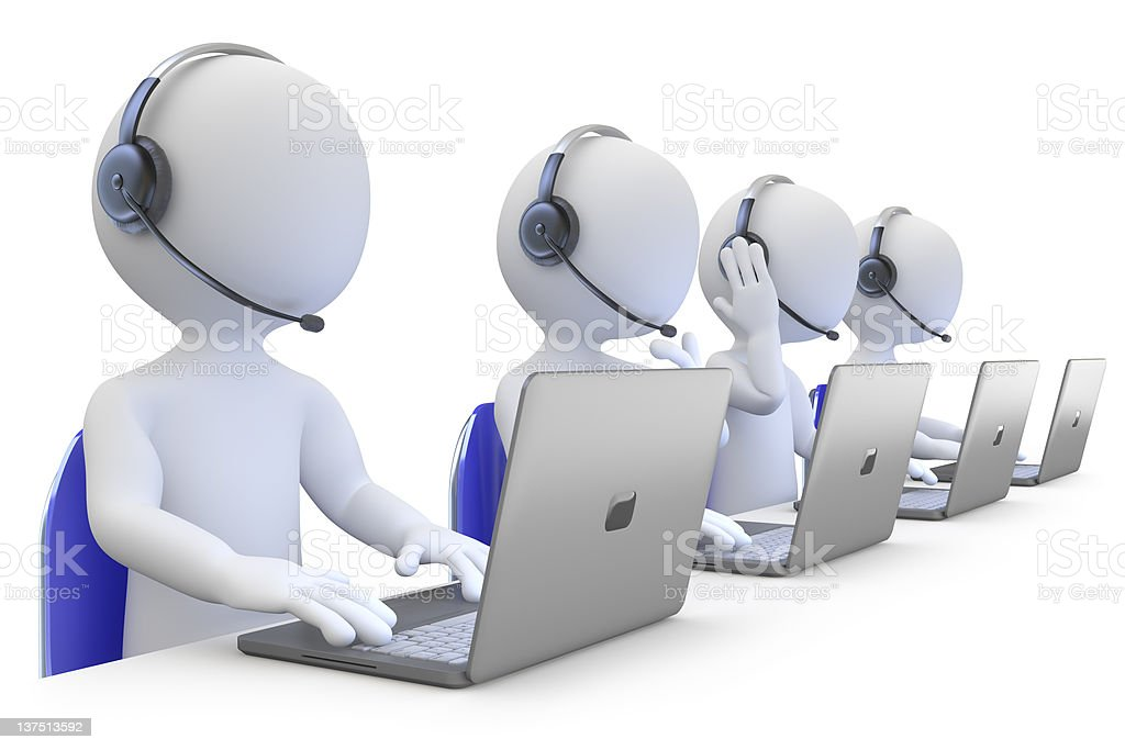 3D generic people with computers at a call center stock photo