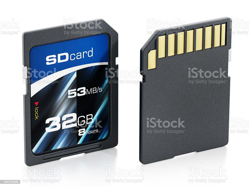 32 GB generic SD card stock photo