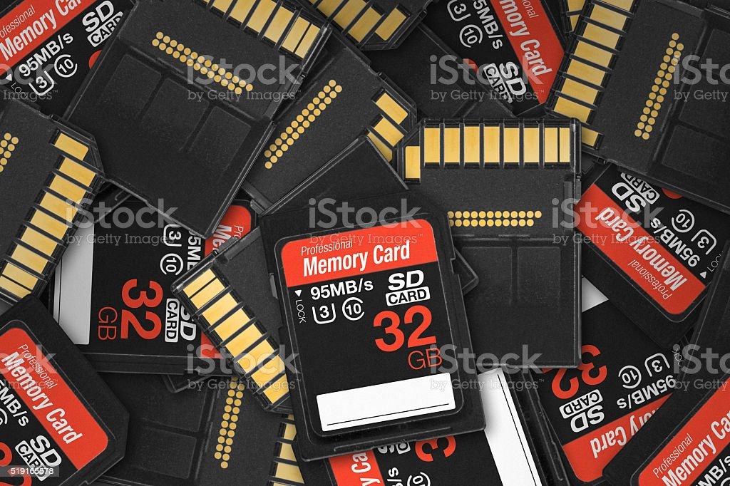 Generic SD card pile stock photo