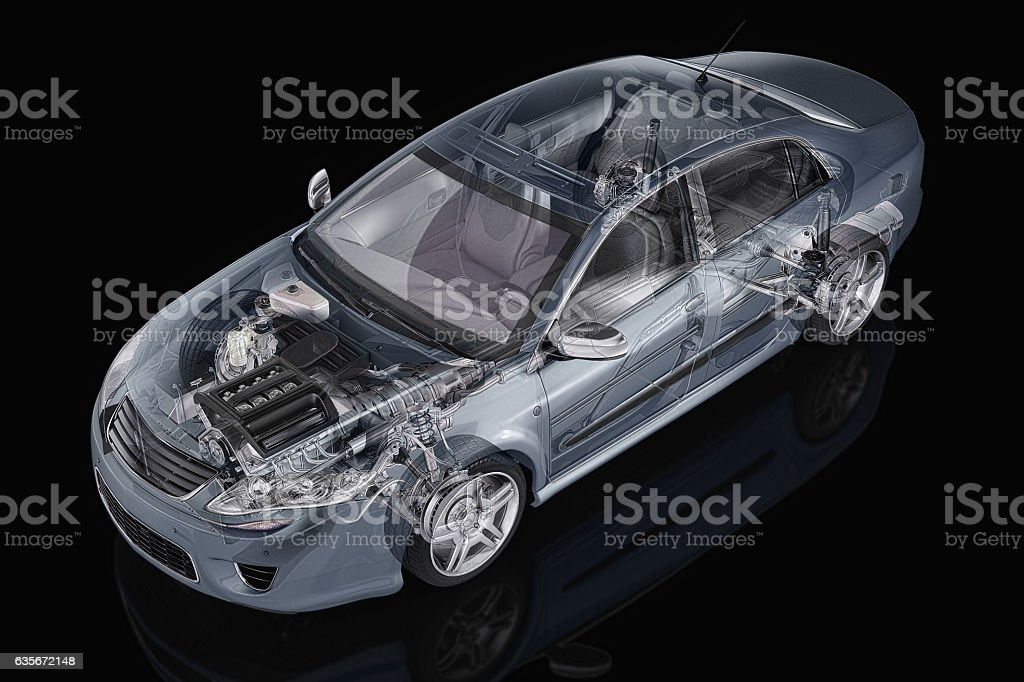 Generic sedan car detailed cutaway representation. stock photo