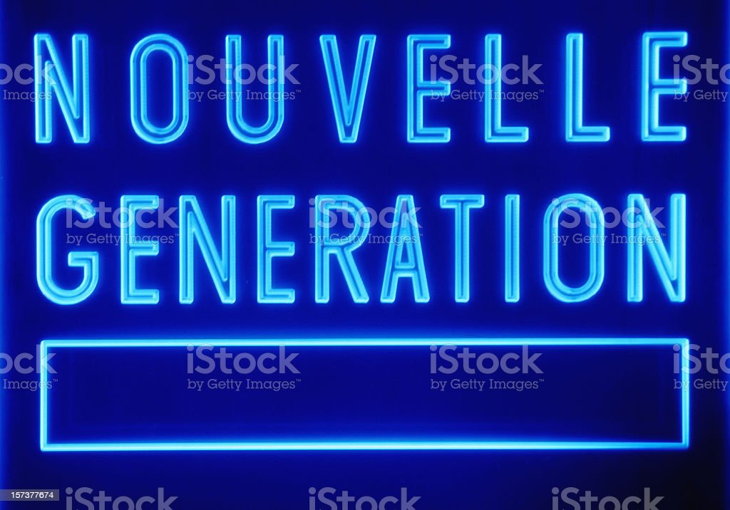 Generic sign: nouvelle generation stock photo