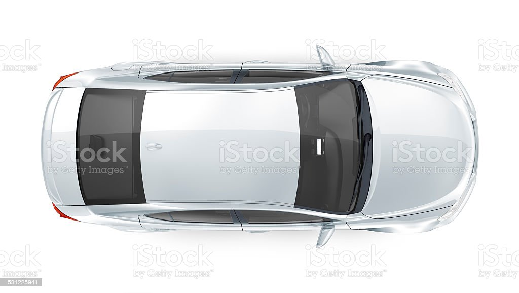 Generic silver car - top view stock photo