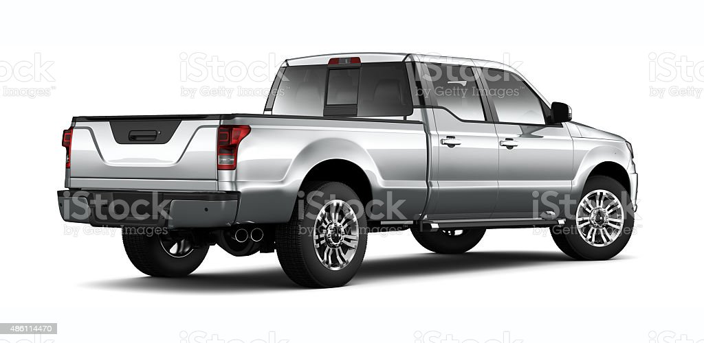 Generic silver pickup truck - rear angle stock photo
