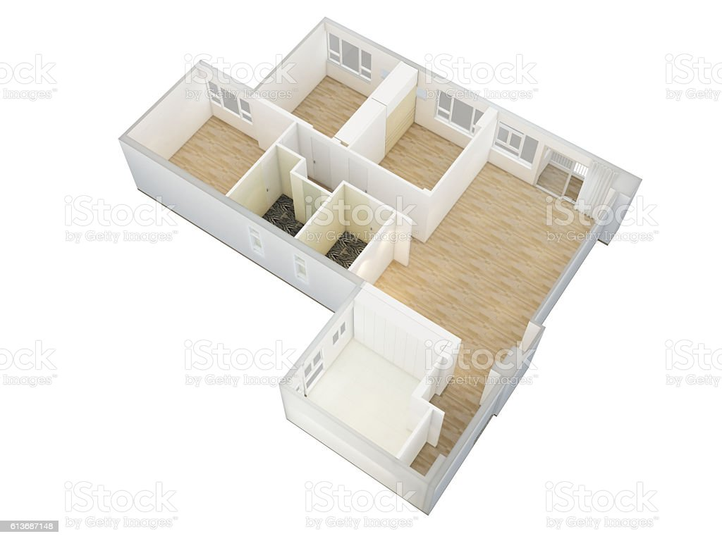 Generic simple apartment unit isometric view stock photo