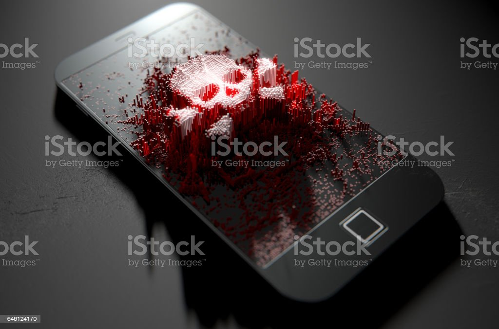Generic smart phone screen emanating small pixels at random that build up to form a skull and cross bones stock photo