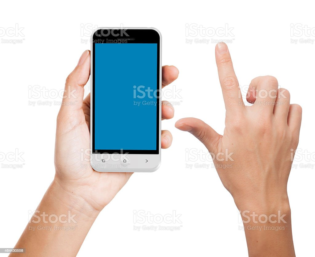 generic smart phone with touch finger stock photo