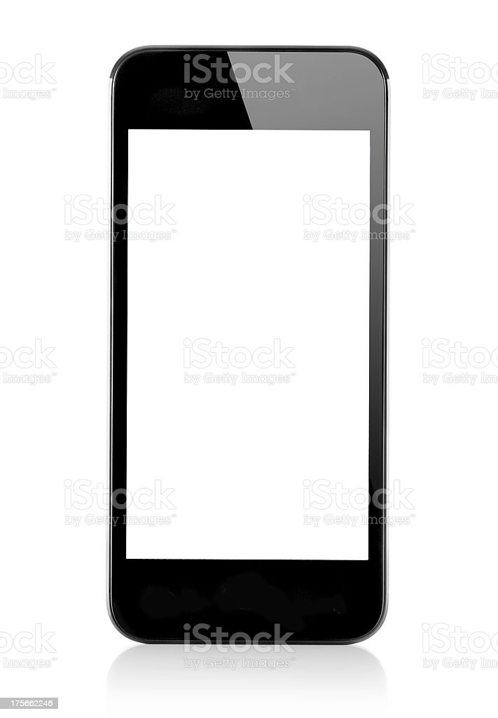 Generic smartphone with white screen isolated royalty-free stock photo