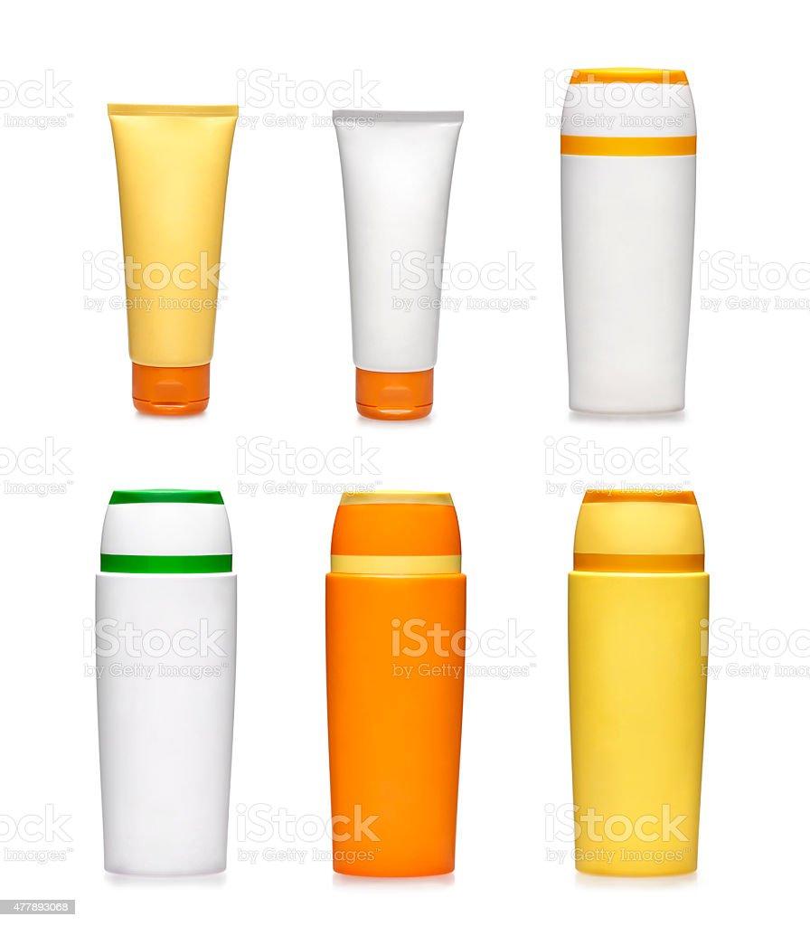 Generic sunscreen plastic bottles stock photo