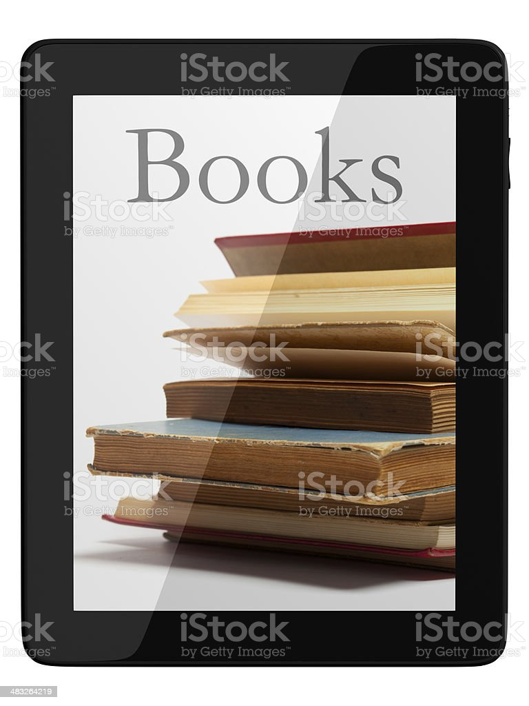 Generic Tablet Computer and book - Digital Library Concept stock photo