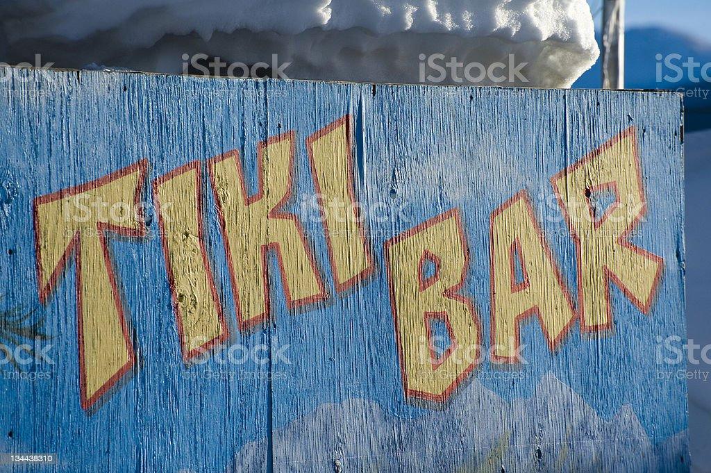 Generic Tiki Bar Sign in WInter royalty-free stock photo