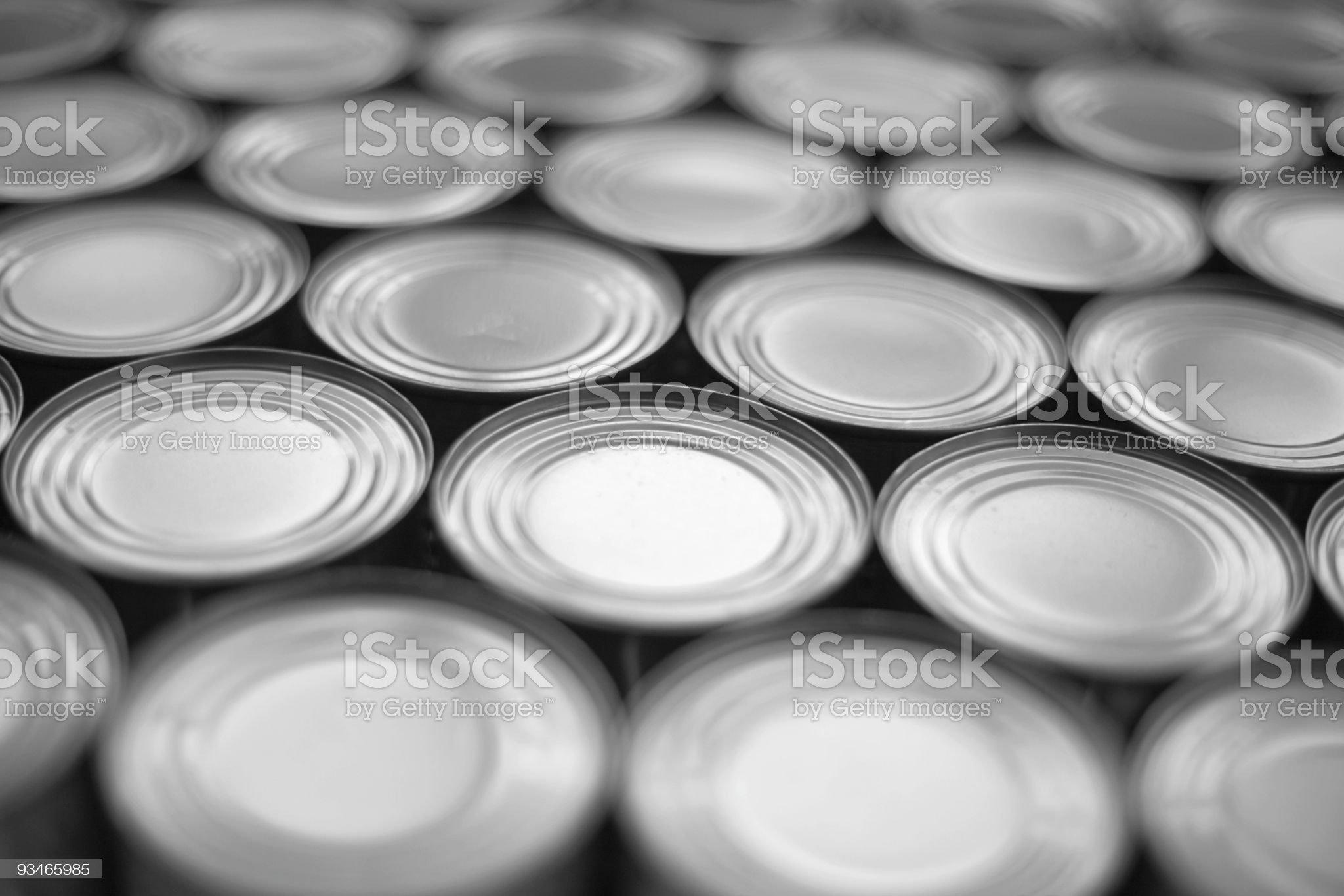 Generic tin cans packed together royalty-free stock photo