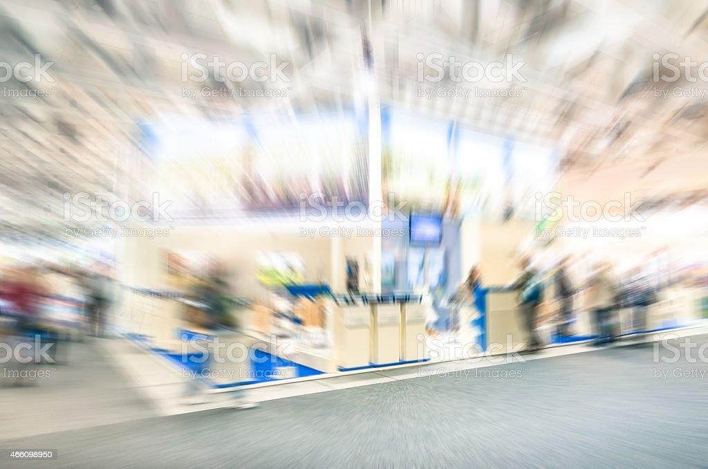 Generic tradeshow stand with zoom defocusing - Expo business concept stock photo