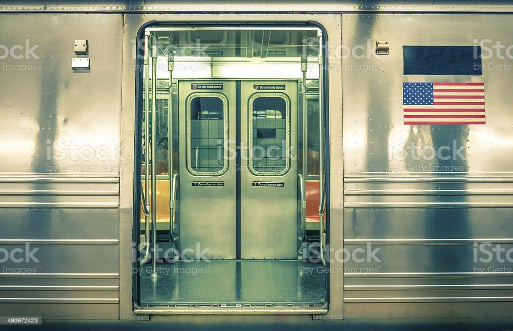 Generic underground train - New York CIty stock photo