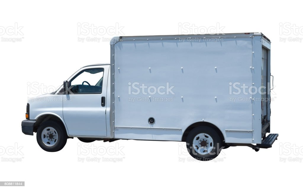Generic white moving truck van isolated on white background stock photo