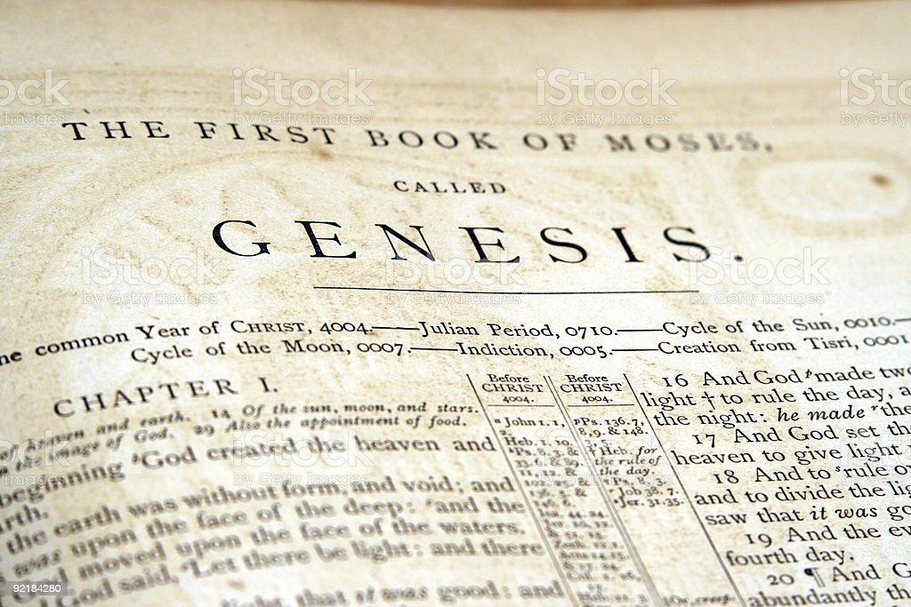 Genesis – old bible stock photo