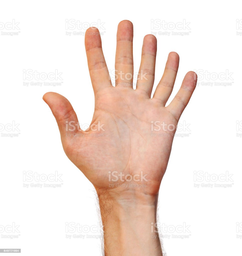 Genetic mutation concept of a six finger human hand due to an extra appendage stock photo