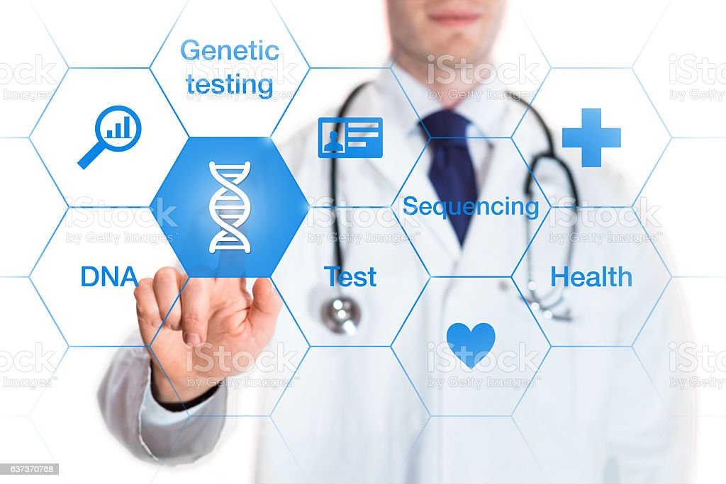 Genetic testing concept, DNA icon, medical doctor, isolated on white stock photo
