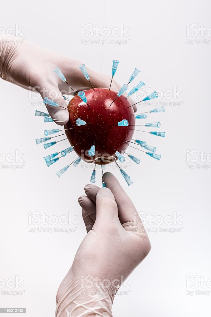 Genetically Modified Apple. stock photo