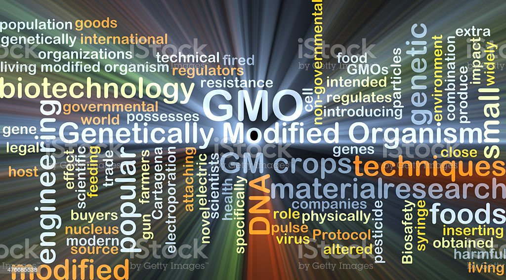 Genetically modified organism GMO background concept glowing vector art illustration