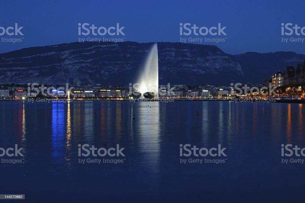 Geneva By Night royalty-free stock photo