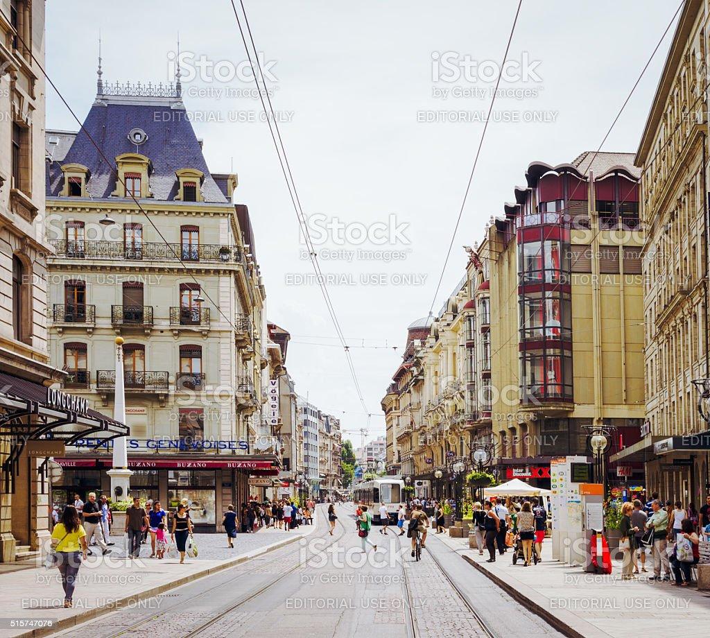 Geneva city centre street scene stock photo