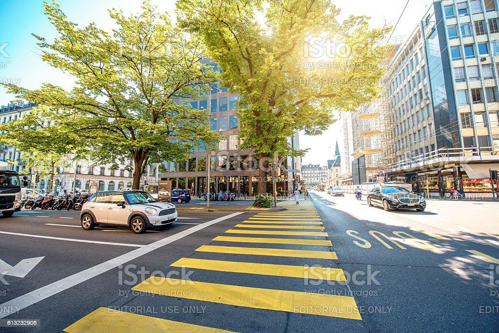 Geneva city life stock photo