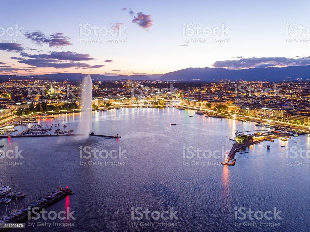 Geneva cityscape from aerial view stock photo