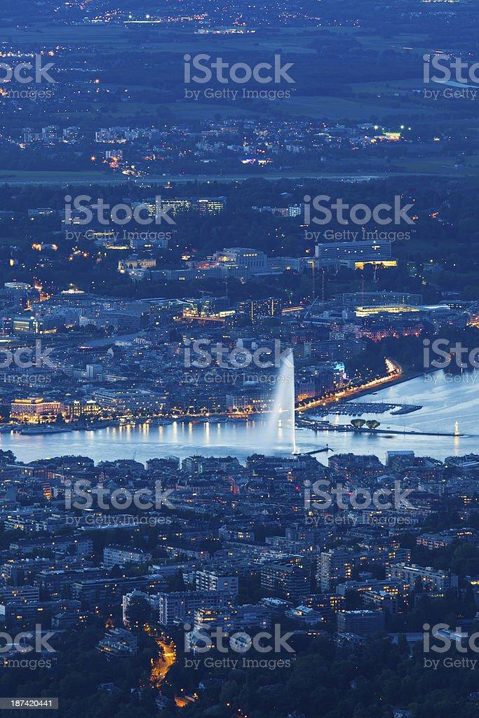 Geneva in night stock photo