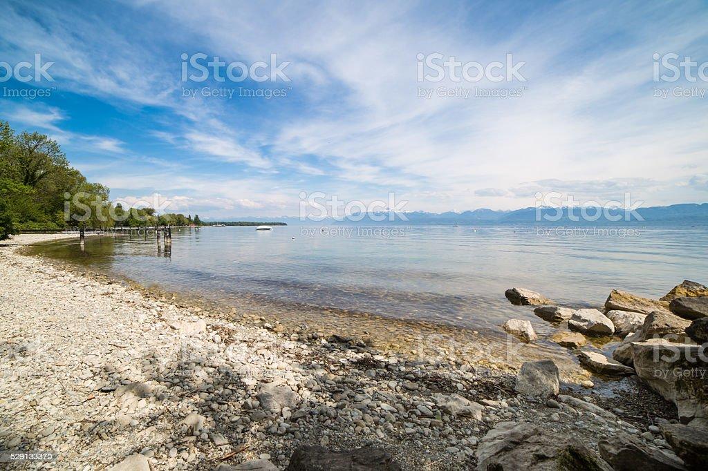 Geneva lake beach stock photo