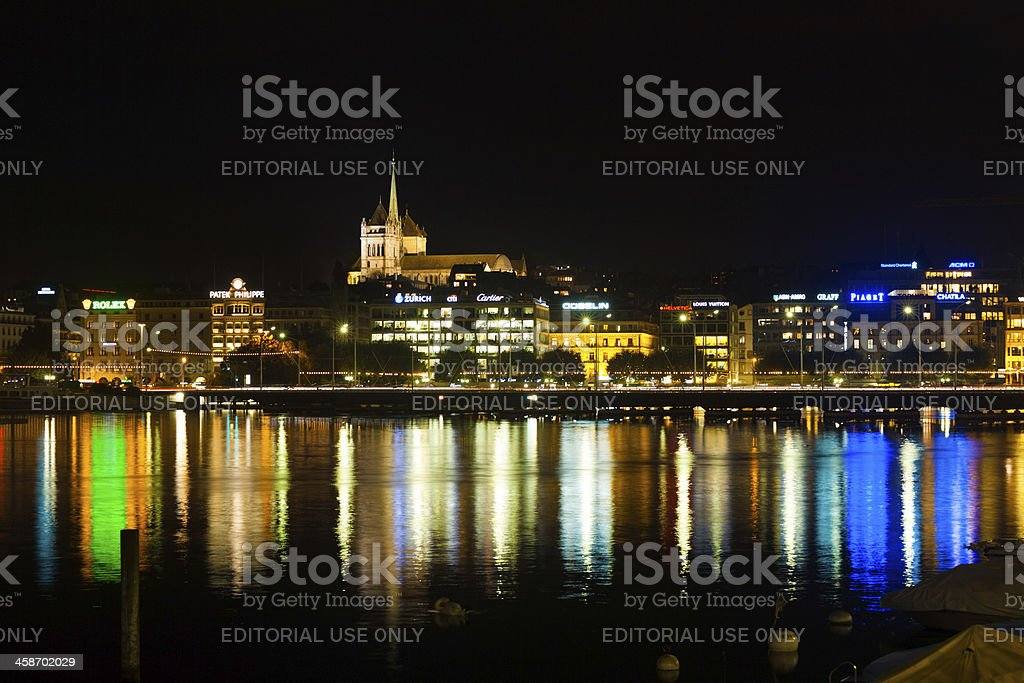 Geneva Old Town Waterfront Night Office Lights H stock photo