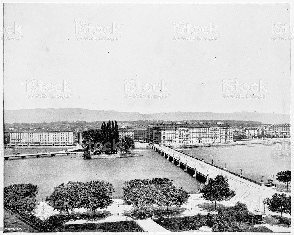 Geneva, Switzerland in 1880s stock photo