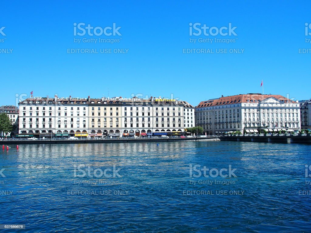 Geneva, Switzerland – July 20, 2016: Hotels at Rhone River stock photo