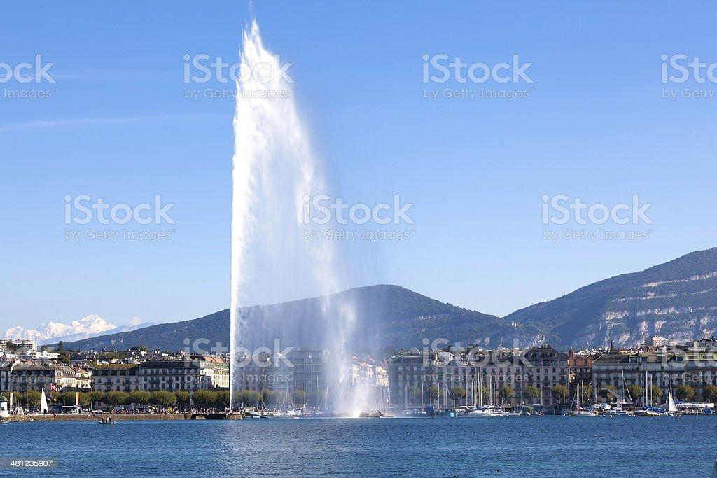 Geneva water fountain stock photo