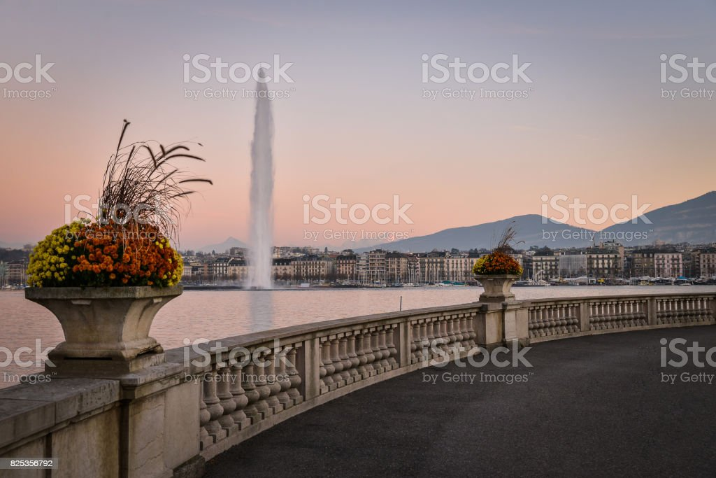 Geneve at sunset stock photo