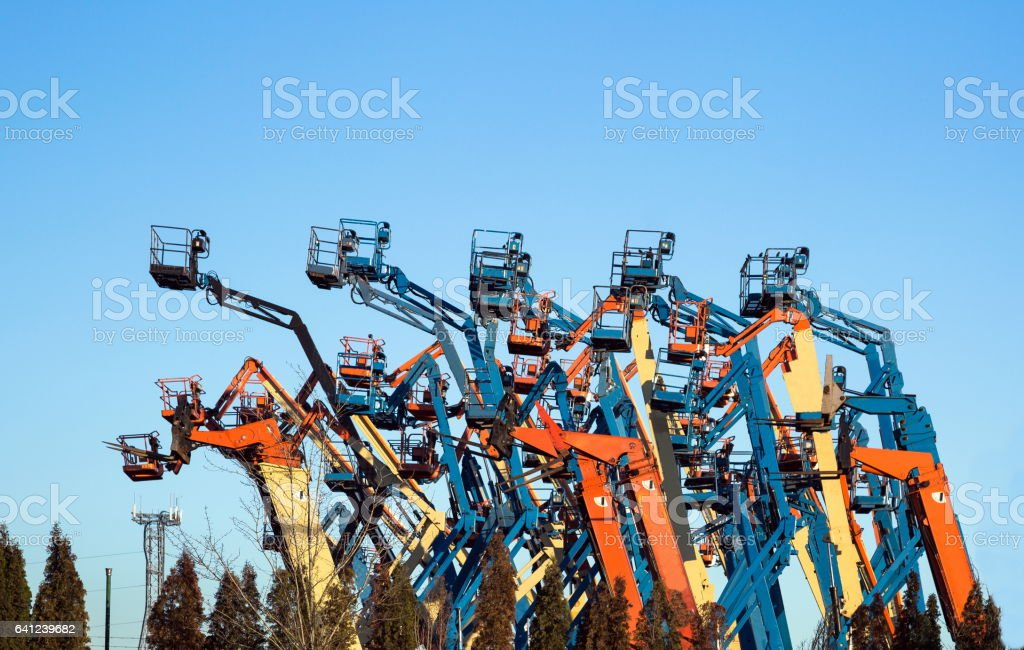 Genie booms for rent stock photo