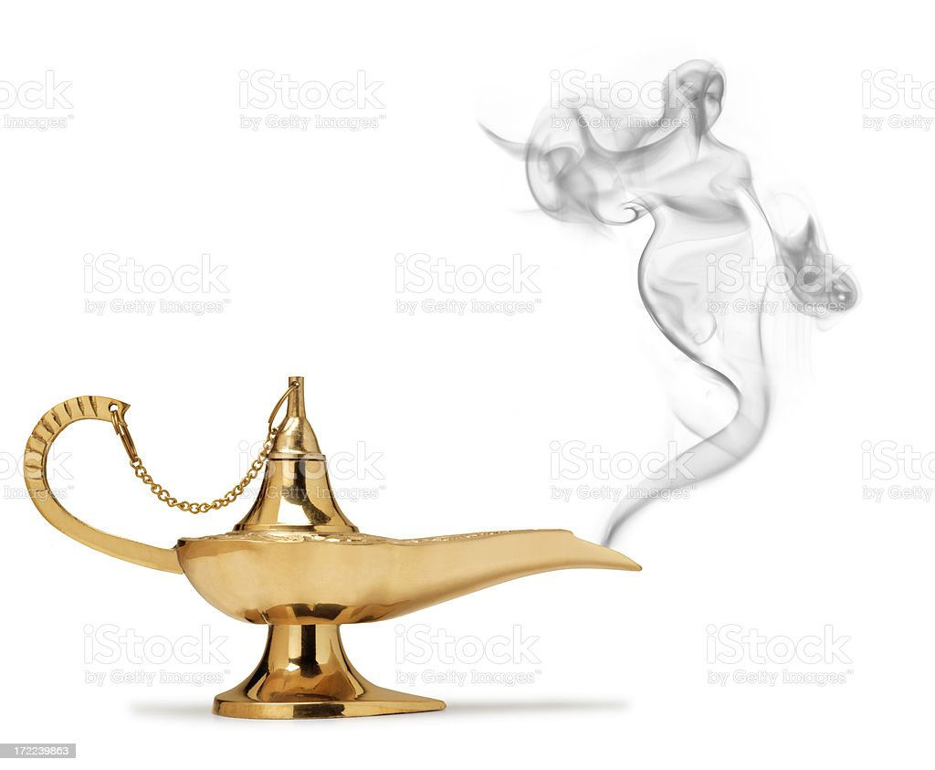 Genie coming out of magic lamp on white background stock photo